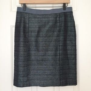 LOFT Silver Gray Metallic Pencil Skirt Size 6 EUC